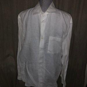 Banana Republic white linen button down mens shirt